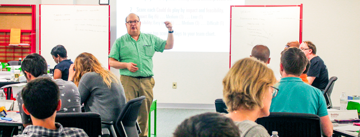 Photo of Jared Spool guiding Design Leaders during our Creating a UX Strategy Playbook workshop.