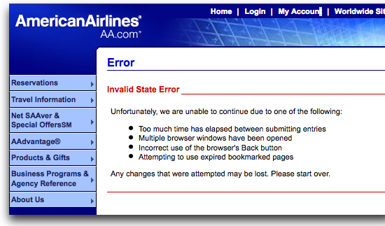 American Airlines web site error message
