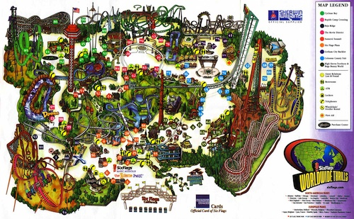 Map of Six Flags Magic Mountatin Theme Park