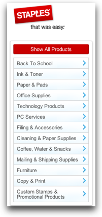 Staples categories list