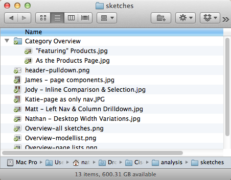 screenshot of sketches folder