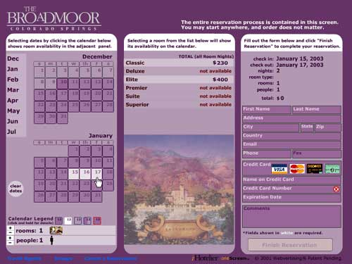Broadmoor's single-screen interface
