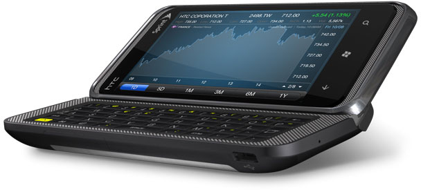 HTC Pro 7 phone with slide out keyboard that can only be used in landscape orientation