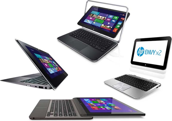 Ultrabooks by HP, Dell, Asus and Toshiba that can switch from tablets to laptops.
