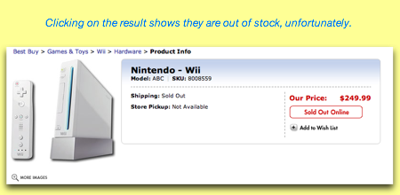 Wii result search on Best Buy