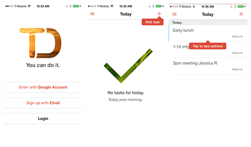 In Todoist for iOS, a tip invites the user to add a first task; then, another prompt introduces the options menu.