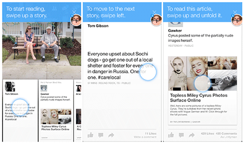 Facebook's Paper app uses interactive tips in the context of a flow.