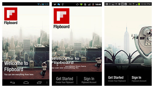 Flipboard for Android and iOS embeds playful prompts to engage the user and reinforce the key gestures needed to navigate the app.