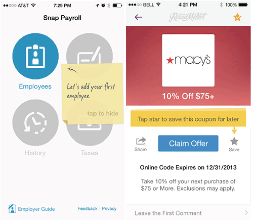Snap Payroll's contextual tips tested very well with users, as did RetailMeNot's.