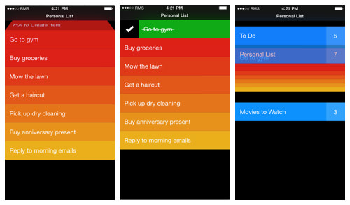 In Clear for iOS, the default view is preloaded with tasks that the user learns by doing.
