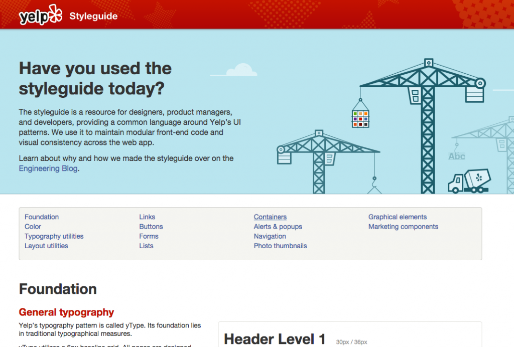 Screenshot of Yelp's styleguide