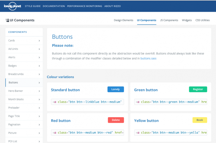 Screenshot of Lonely Planet's styleguide