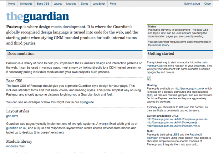 Screenshot of The Guardian's styleguide